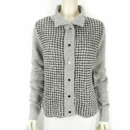 CAbi Gray Square Stitch Snap Button Down Sweater C