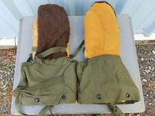 Vintage Korean War Military Issue Alpaca Backed Lined Artic Gloves Mittens S