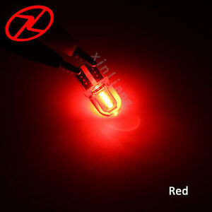 10x T10 194 168 W5W COB 8 SMD LED Car Wedge Lamp Silica Red License Light Bulb