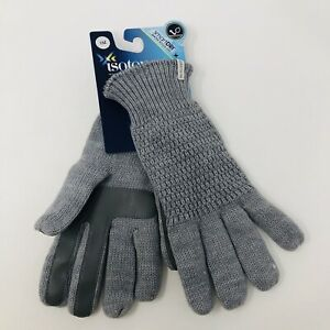 Isotoner-Womens-One-Size-Fits-Most-SmartDri-Knit-Gloves-Touchscreen-Gray-40
