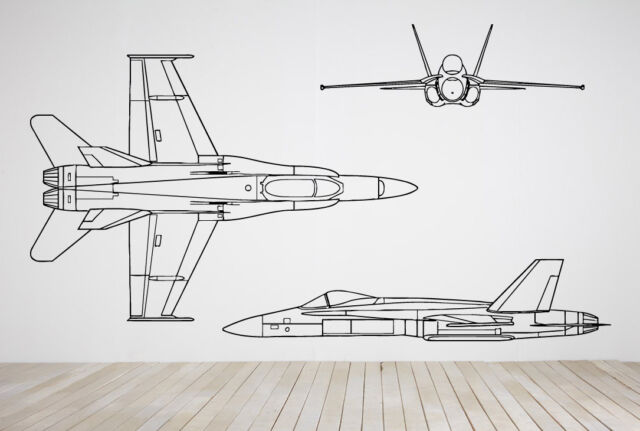 Decor Vinyl Sticker Set Bomber Plane Airplane Aircraft Jet Fighter War ZX257