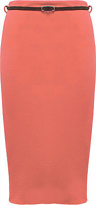 Womens High Waist Pleated Wiggle Bodycon Belt Long Midi Office Pencil Skirt 8-14