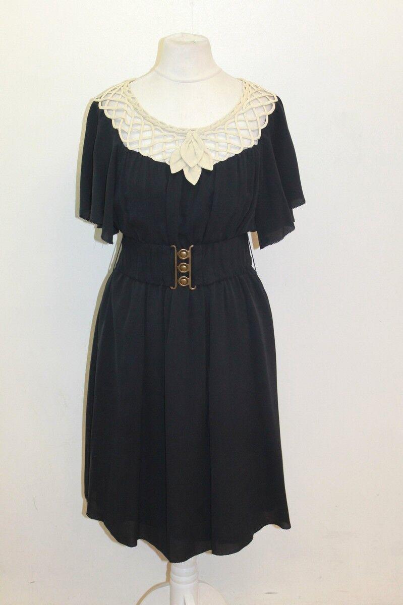 PHILLIP LIM Navy Blau Silk Cap Sleeve Cut Out Shift Dress Small