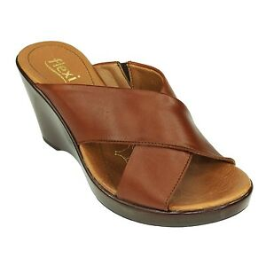 Flexi-Woman-Brown-Strappy-Sandals-Comfortable-Mid-Wedge-Shoes