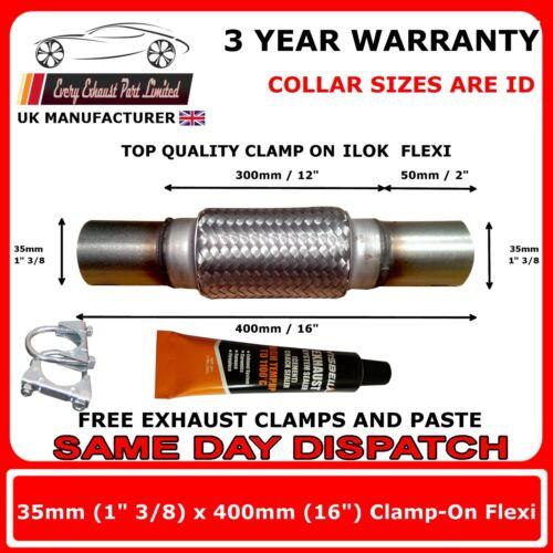 "1 3//8/"" x 16/"" Exhaust Flexi Pipe Repair 35mm x 400mm Flex Clamp On"