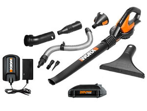 WG545 1 WORX 20V Max Lithium Blower Sweeper with 8 Attachments