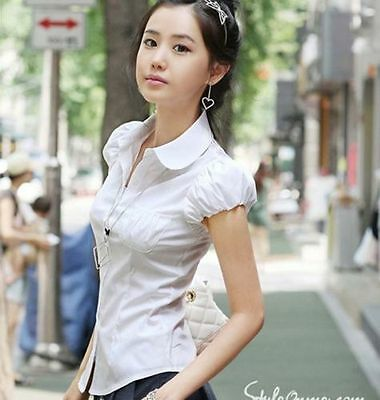 Women Lady OL Career Puff Short Sleeve Doll Collar Button Down Shirt Blouse Tops