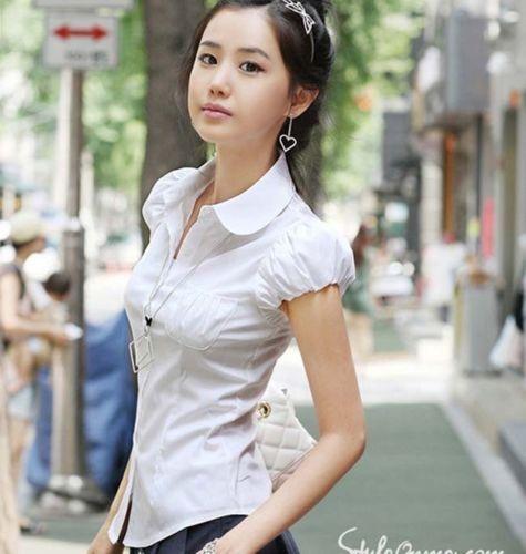 Women Lady OL Career Puff Short Sleeve Doll Collar Button Down Shirt Blouse Tops