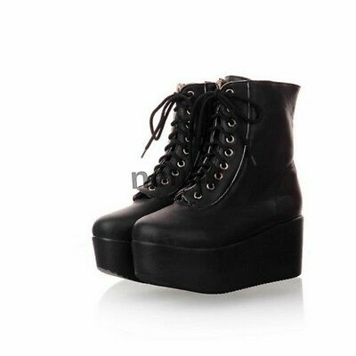 Casual Womens Wedge Platform Lace Up Punk Goth Ankle Boots Creepers Shoes Pumps