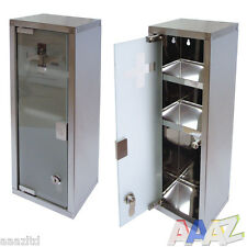 Large Wall Mountable Medicine Cabinet Cupboard First Aid Lockable Glass Door