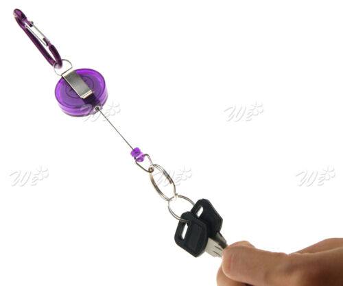 New 2 Pieces  Retractable Key Chain Badge Reel Recoil Holder Pass ID Card