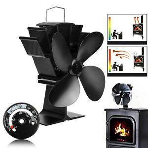 Wall Mounted Heat Powered Wood Stove Fan 4 Blades Wood Log Burner Fireplace Eco