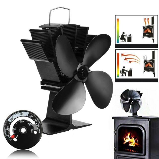 Heat Distribution Blade Stove Fans Blades Fireplace Fan Vane Metal 4 Leaf