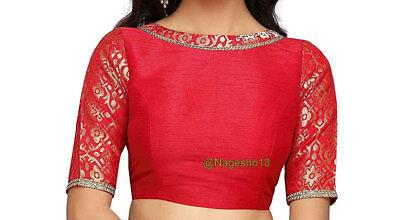 Top Designer Sari Blouse Readymade Saree Blouse Dupion Silk and Sequin Blouse