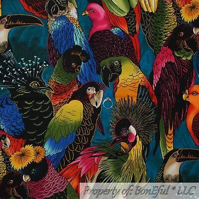 BonEful Fabric FQ Cotton Quilt VTG Tropical Island Bird Parrot Flower Scenic OOP