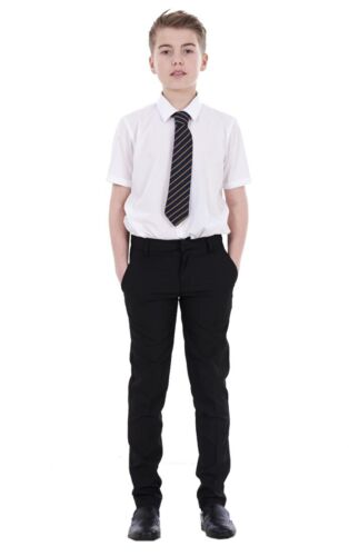 Boys ex BHS Slim Fit Skinny Grey Adjustable Waist Black School Trousers