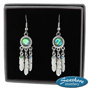 Dream-Catcher-Earrings-Paua-Abalone-Shell-Silver-Fashion-Jewellery-35mm-Drop