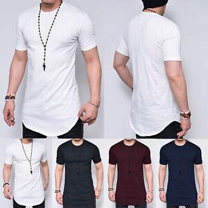 Men-Longline-Casual-Shirt-Curved-Hem-Plain-Short-Sleeve-Slim-Fit-T-Shirt-Top-Tee