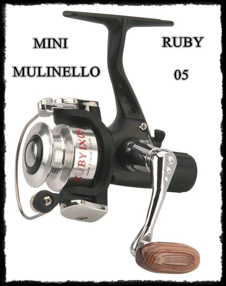 Mini mulinello ruby 05 pesca trossoa teleregolabile spinning lago fiume barbara