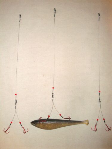 3-Pack SMELT RIG 40# ICE FISHING BLEEDING QUICK STRIKE Northern Pike TIP UP