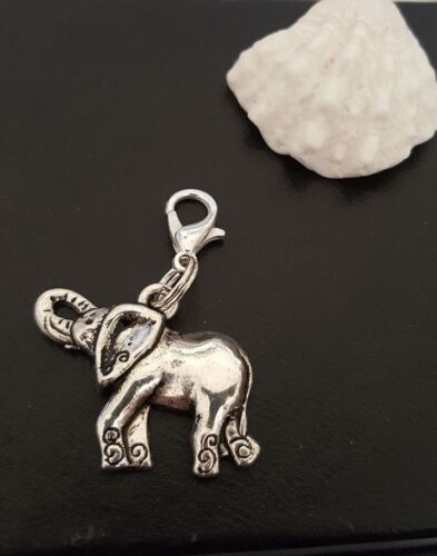 "Decorated Airavata Elephant clip on Charm Pendant Silver Ganesh Fertility 1/"""