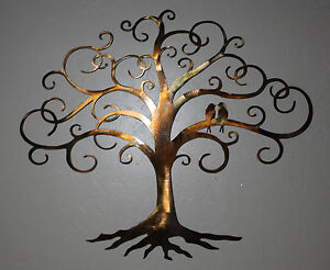 love bird swirled tree of life 24 tall metal wall art. Black Bedroom Furniture Sets. Home Design Ideas