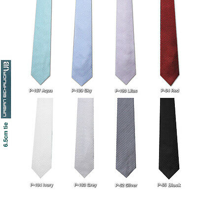 "New UB Men's Textured Self Stripe 2.5"" (6.5cm) Skinny Slim Tie - 8 Colours"