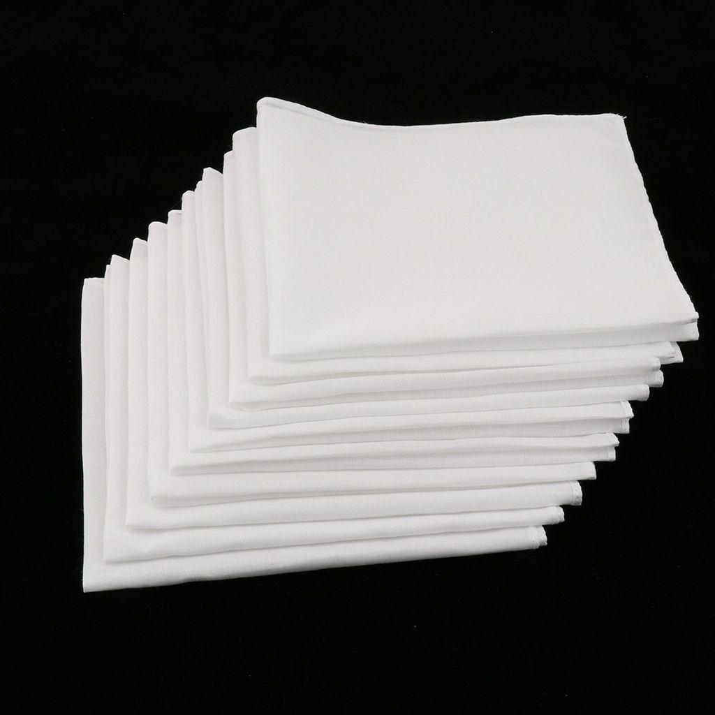 10pcs 100% Cotton White Handkerchiefs Party Soft Washable Towels Hanky Towel