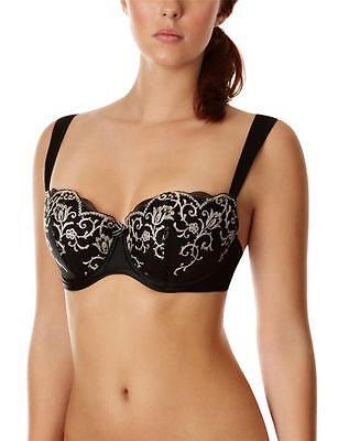 New Panache Masquerade Delphi Womens Balcony Bra Black 30D 30DD RRP £40