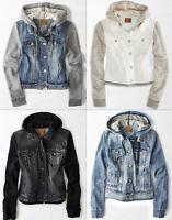 American Eagle AE Womens Denim Jean Vest Vested Hooded Hoodie Jacket Coat NWT