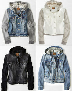 American Eagle AE Womens Denim Jean Vest Vested Hooded Hoodie ...
