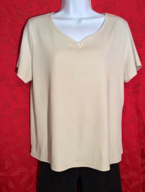 CORAL BAY PETITE Womens PL Large BEIGE Short Sleeve Stretch Y-Neck TOP Shirt