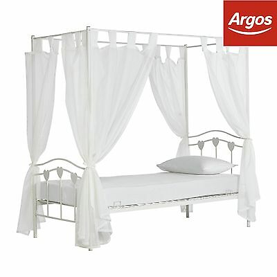 HOME Hearts Single Four Poster Bed & Elliott Mattress-White.