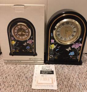 Elgin Clock Mantel BP #689173 E91 Decorative Flowers With Drawer Quartz Battery