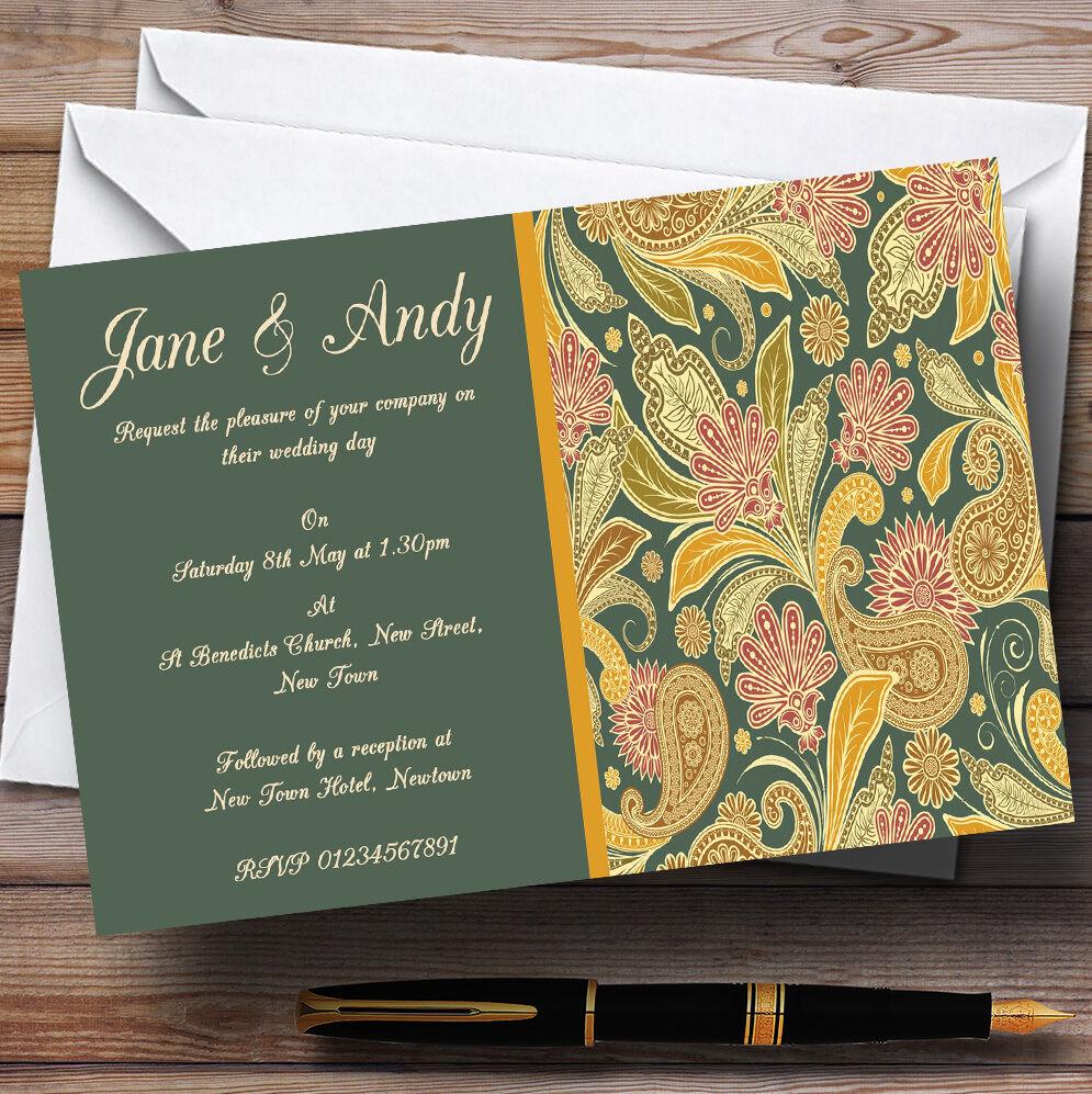 Grün Gelb Orange Vintage Personalised Wedding Invitations