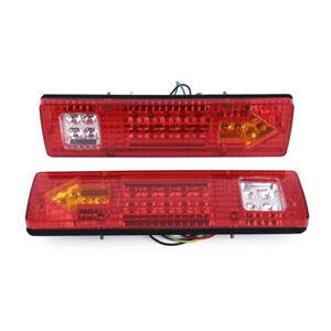 2x-19-LED-ARRIERE-FEUX-LAMPE-12V-5-FONCTION-Pour-REMORQUE-CARAVANE-CAMION-CP