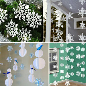 White-Paper-Material-3D-Snowflake-Pendant-Garland-Christmas-Decoration