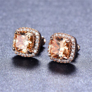 Women-18K-Rose-Gold-Princess-Cut-Champagne-Topaz-Stud-Earrings-Square-Ear-Stud