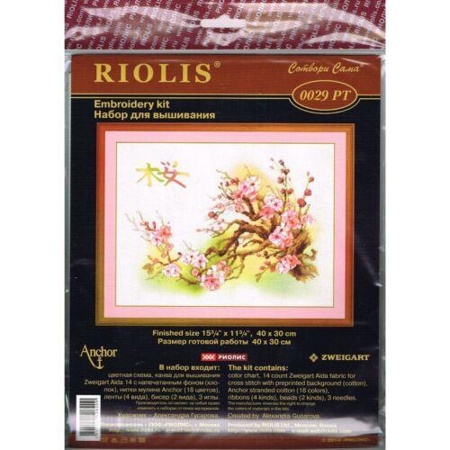 RIOLIS  0029PT  Branche de Sakura  Point de croix compté  Fond pré-imprimé