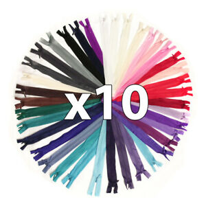 "x 10 x CONCEALED No.3 INVISIBLE 6""-18"" NYLON ZIPS *19 COLOURS * CLOSED END ZIP"