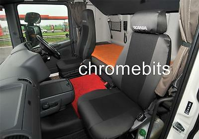 BLACK FABRIC TAILORED SEAT COVERS SET FOR SCANIA G P R SERIES RHD NEW