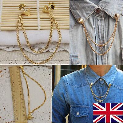 Spike Stud Rivet Shirt Collar Neck Tip Brooch Pin Chain Tassels Punk Rock Goth
