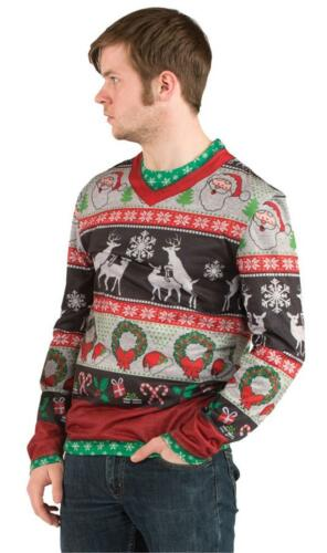 ADULT UGLY FRISKY DEERS CHRISTMAS SWEATER T SHIRT HOLIDAY PARTY COSTUME FR115908