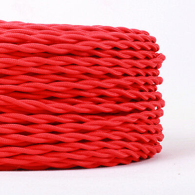 Three Core Twisted Vintage Style  Coloured TWIST Braided Fabric Cable. Lamp Flex