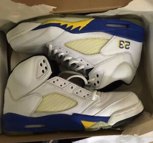 best service 90b02 a178e Image is loading Nike-Air-Jordan-V-5-Laney-White-Royal-