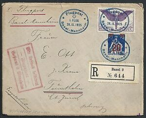 Switzerland covers 1925 Airmailcover Flugpost Basel-Mannheim to Feuerthalen
