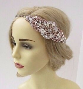 Image is loading Rose-Gold-Opal-Silver-Diamante-White-Bridal-Headpiece- 289ea84e45b