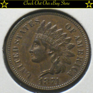 1874-U-S-Indian-Head-Cent-1c-AU-Details-Brown-Penny-Copper-Full-Liberty