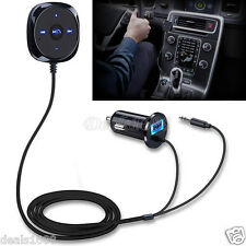 Bluetooth Wireless Music Receiver 3.5mm Adapter Handsfree AUX Speaker PC Car Kit
