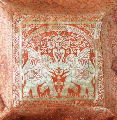 Brocade Silk Pillow Cover in Orange Color with Gold Color from India